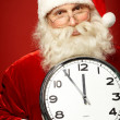 Santa with clock — Foto Stock