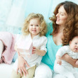 Female with kids — Stock Photo