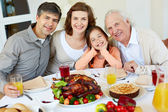 At Thanksgiving table — Stock Photo