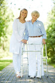 Clinician and senior patient — Stock Photo
