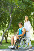 Walking with patient — Stock Photo