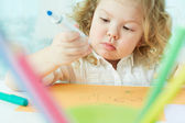 Absorbed in drawing — Stock Photo