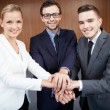Business partners making pile of hands — Stock Photo #35269645