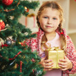 Girl by Christmas tree — Stock Photo #35271145