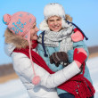 Woman and her son in winterwear — Stock Photo
