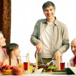Together at festive table — Stock Photo