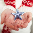 Silver star on palms — Stock Photo