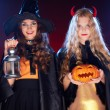 Girls celebrating Halloween — Stock Photo