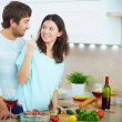 Stock Photo: Couple in the kitchen
