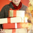 Man with giftboxes — Photo