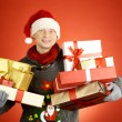 Min Santcap with giftboxes — Stock Photo #35273823
