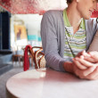 Romantic couple sitting in cafe — Stock Photo