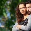 Man embracing his girlfriend — Stock Photo
