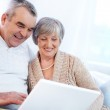 Mature man and his wife working with laptop — Stock Photo