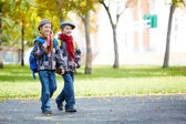 Twin schoolkids — Stock Photo