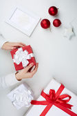 Preparing Christmas presents — Stock Photo