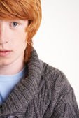 Half of face of attractive redhead guy — Stock Photo