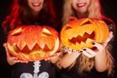 Pumpkin grins — Stock Photo
