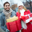 Couple with giftboxes — Stock Photo #36819559