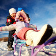 Riding on sledge — Foto de Stock