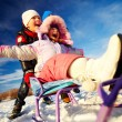 Kids in winterwear having happy time — Foto de Stock