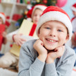 Cute lad in Santa cap — Stock Photo