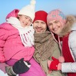 Family of three in winterwear  — Foto Stock