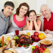 Family at Thanksgiving table — Stock Photo