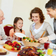 Family at Thanksgiving table — Foto Stock