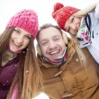 Happy friends in winter — Stock Photo