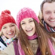Joyful friends in winter — Stock Photo