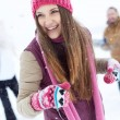 Happy girl in winterwear laughing — Stock Photo #36817585