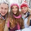 Friends having fun in winter park — Stock Photo