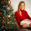 Girl with big giftbox — Stock Photo