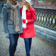 Stock Photo: Affectionate couple walking and talking