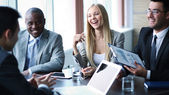 Business people communicating at meeting — Stock Photo