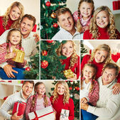 Happy family on Christmas day — Stock Photo