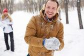 Playful guy in winterwear — Stock Photo
