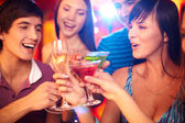 Friends toasting at birthday party — Stock Photo