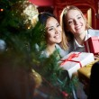 Stock Photo: Females giving xmas presents