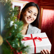 Stock Photo: Female with xmas present
