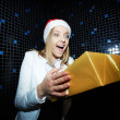 Businesswoman with Christmas gift — Stock Photo