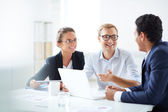 Business partners communicating at meeting — Stock Photo
