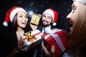 Friends with gifts — Stock Photo