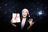 Woman with giftbox — Stock Photo
