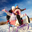 Kids riding on sledge — Stock Photo