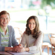 Stock Photo: Couple in cafe
