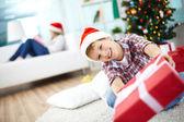 Boy giving present — Stock Photo