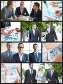 Collage of business partners — Stock Photo