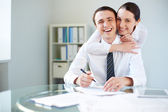 Happy businesspeople — Stock Photo